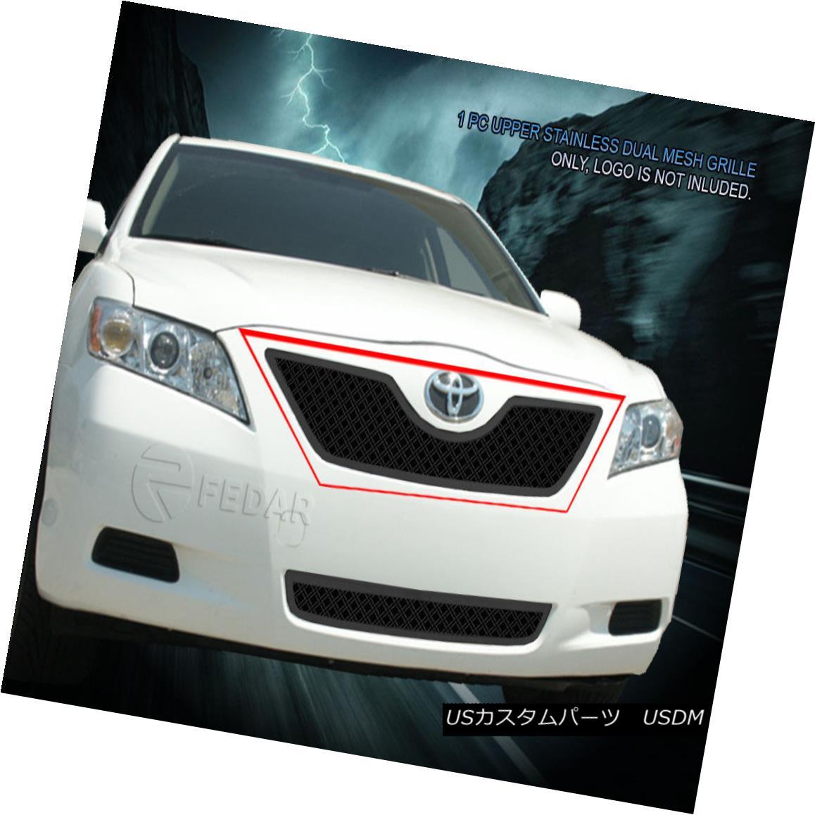 グリル Fedar Fits 2007-2009 Toyota Camry Full Black Upper Dual Weave Mesh Grille Insert Fedar 2007-2009トヨタカムリフルブラックアッパーデュアルウィーブメッシュグリルインサート