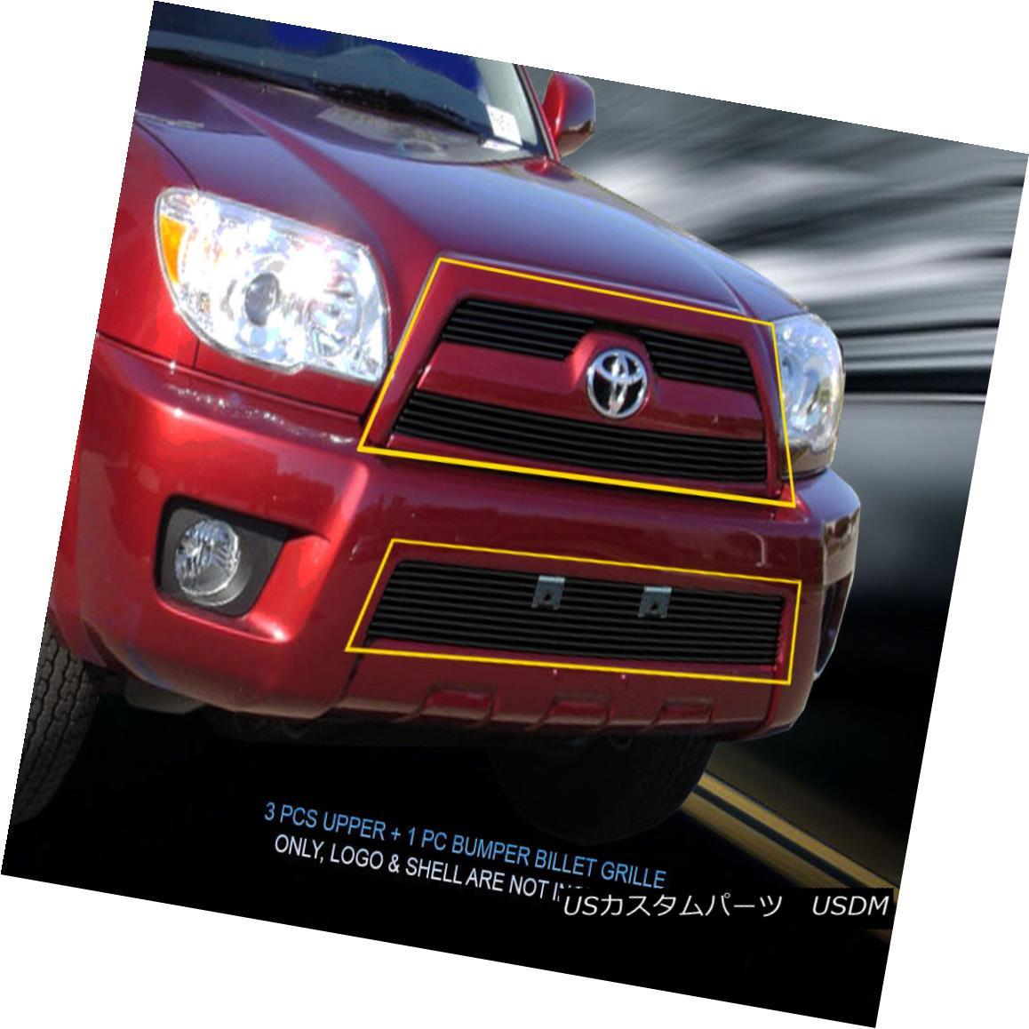 グリル Fits Fedar 06-09 Toyota 4Runner Black Billet Grille Grill Combo Insert 4 Pcs フィットFedar 06-09トヨタ4Runnerブラックビレットグリルグリルコンボ挿入4本