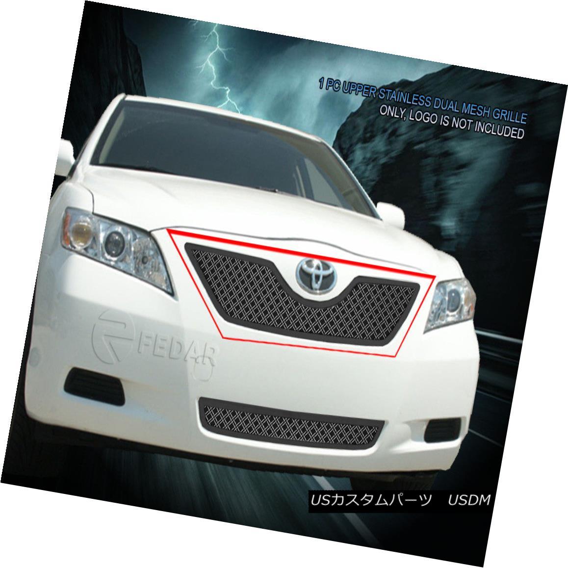 グリル Fedar Fits 2007-2009 Toyota Camry Polished Upper Dual Weave Mesh Grille Insert Fedarは2007-2009年のトヨタカムリを研磨しました。上部二重織りメッシュグリルインサート