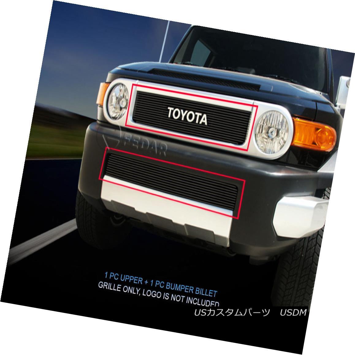 グリル Fedar Fits 07-14 Toyota FJ Cruiser Combo Black Billet Grille Overlay Fedar Fits 07-06トヨタFJクルーザーコンボブラックビレットグリルオーバーレイ