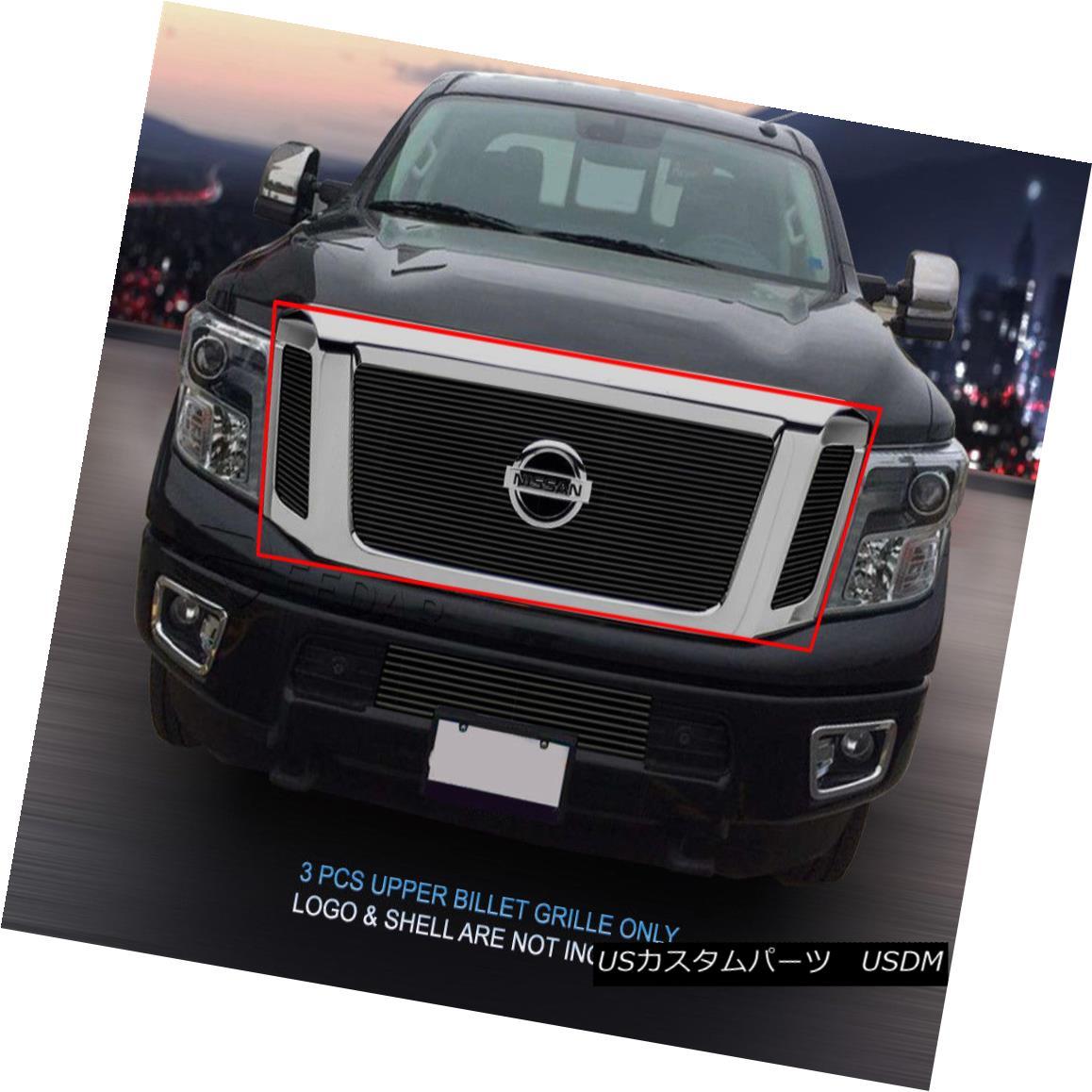グリル Fedar Fits 2016 Nissan Titan Black Billet Grille Insert Fedarフィット2016 Nissan Titan Black Billet Grille Insert