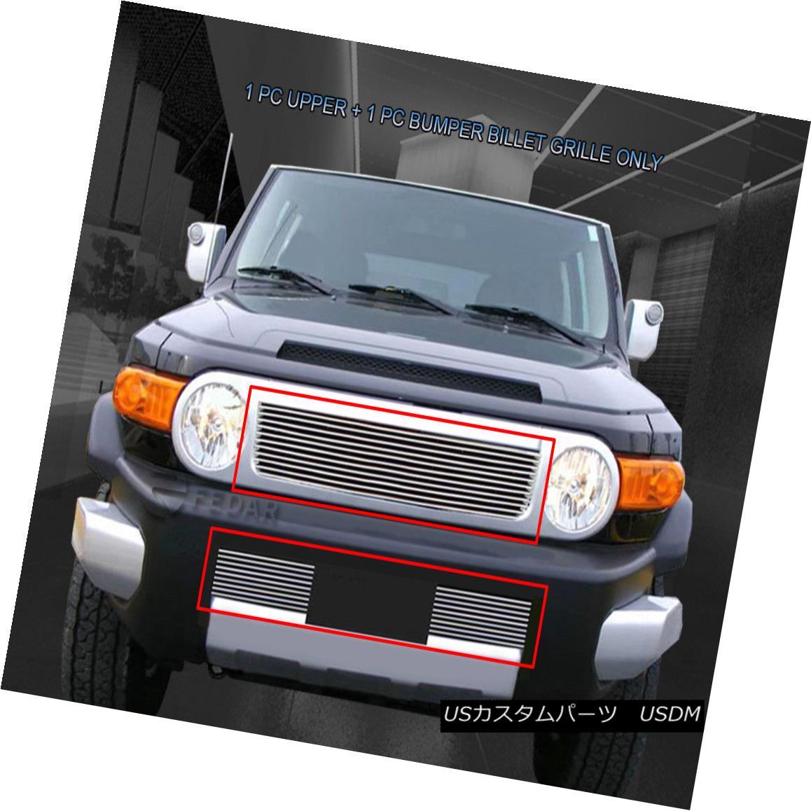グリル Fits 2007-2014 Toyota FJ Cruiser Billet Grille Grill Combo Insert フィット2007年?2014年トヨタFJクルーザービレットグリルグリルコンボインサート