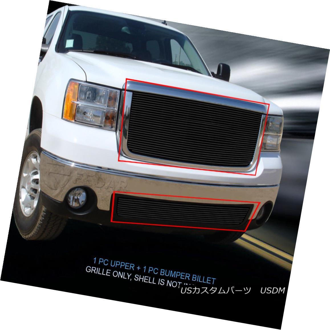 グリル 07-13 GMC Sierra 1500 New Body /07-10 Denali Black Billet Grille Combo Fedar 07-13 GMC Sierra 1500ニューボディ/ 07-10デナリブラックビレットグリルコンボ・フェルダ