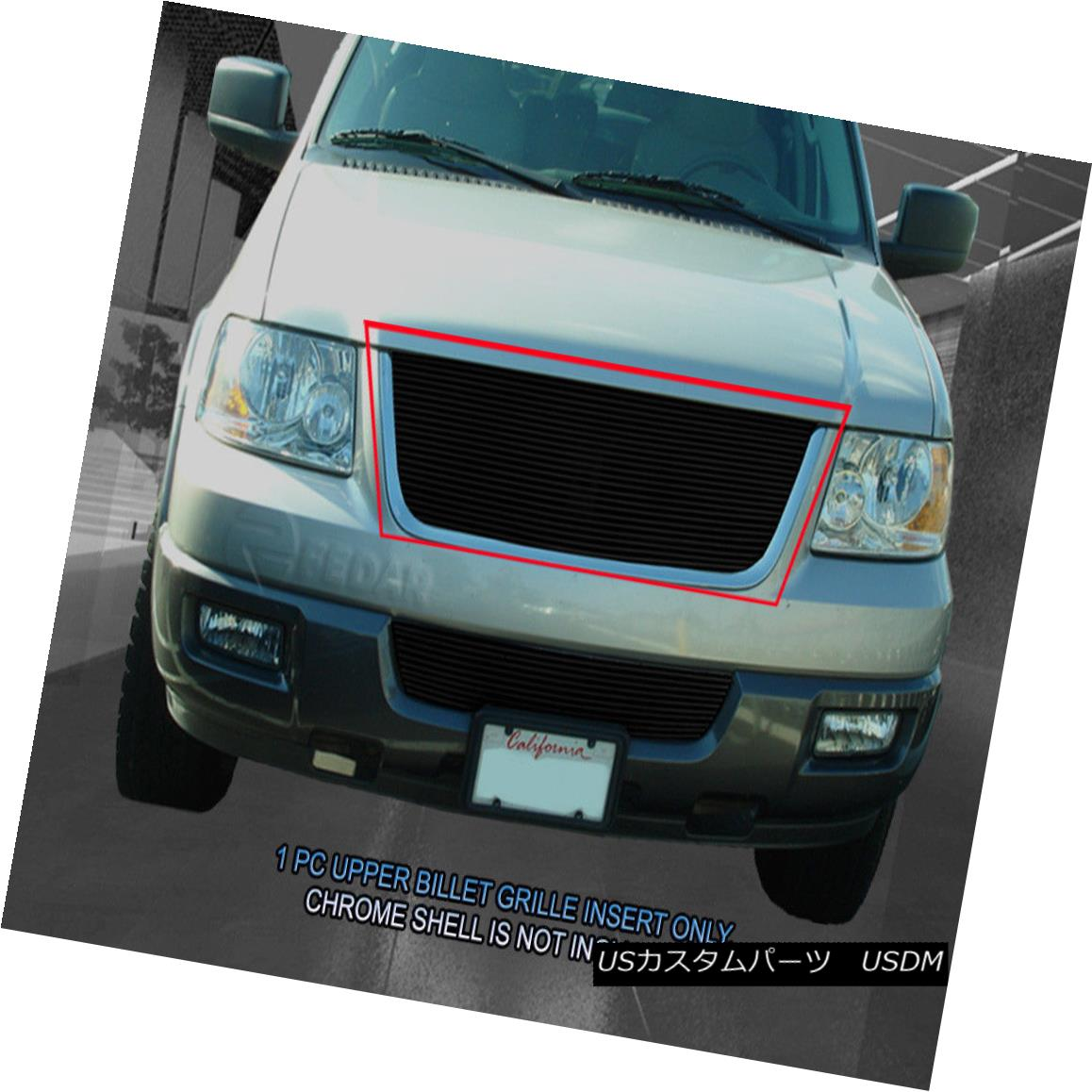 グリル Fedar Fits 2003-2006 Ford Expedition Black Main Upper Billet Grille Fedarは2003-2006 Ford Expedition Blackメインアッパービレットグリルに適合