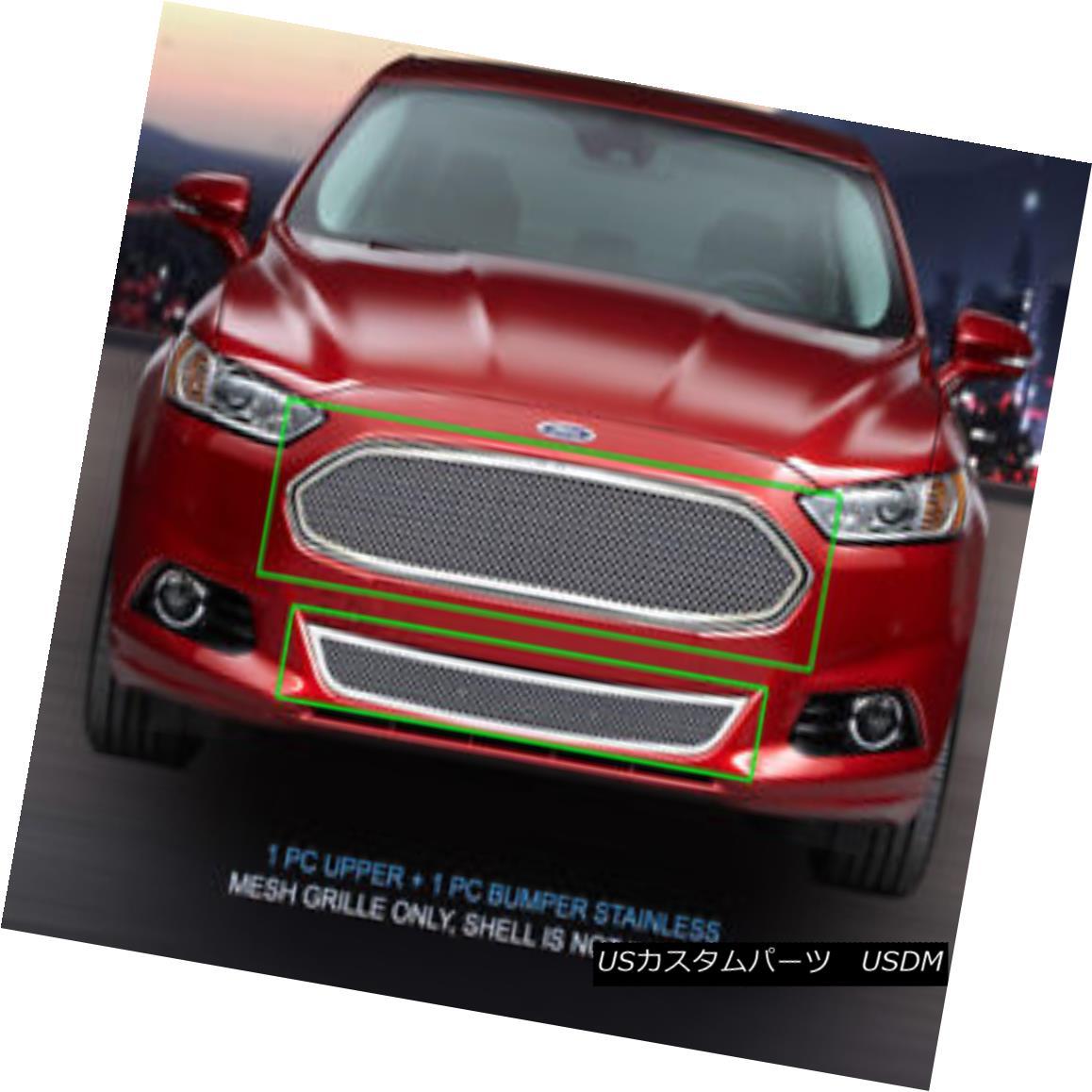グリル Fedar Fits 2013-2015 Ford Fusion Wire Mesh Grille Combo Insert Fedarは2013年から2015年のFord Fusionワイヤーメッシュグリルコンボインサート