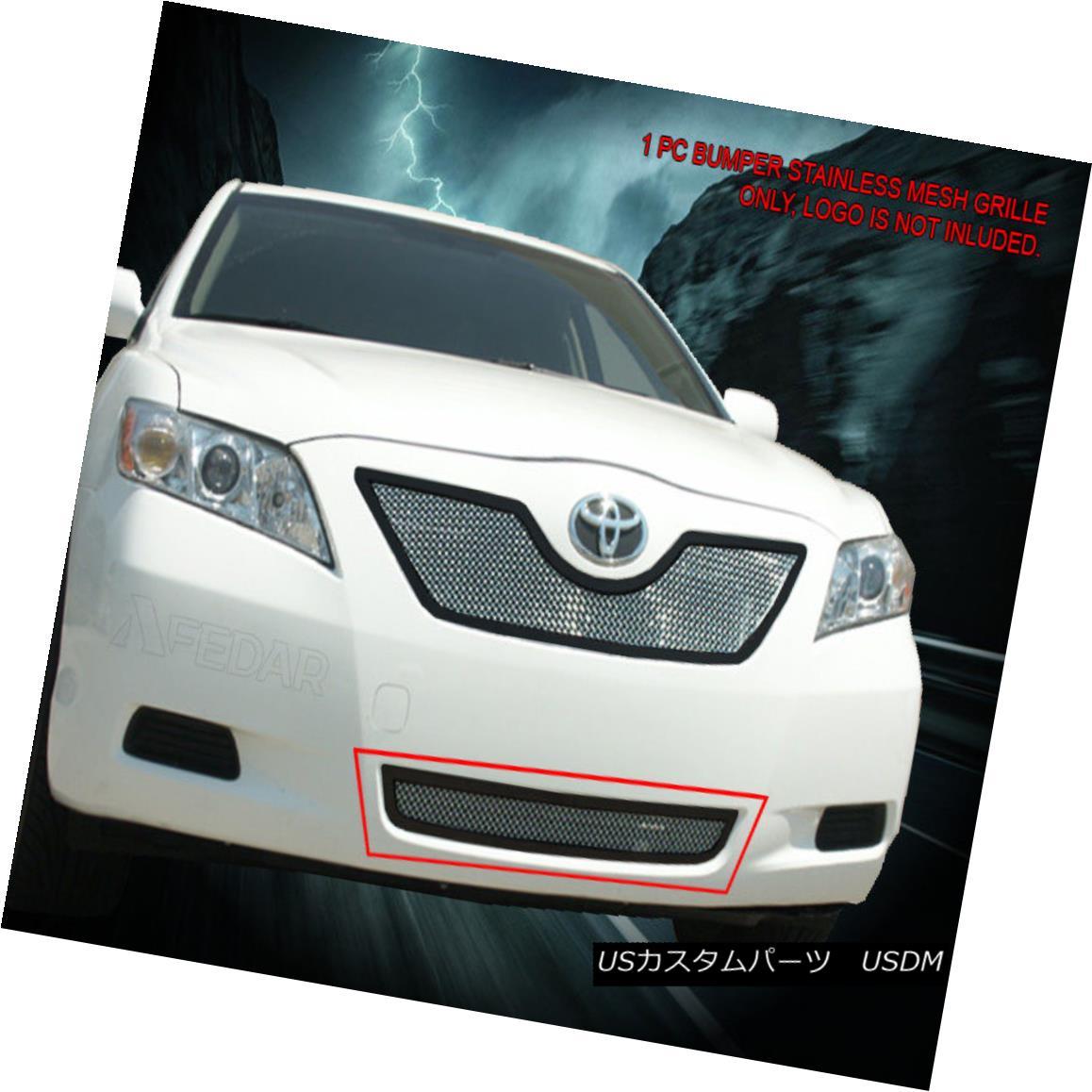 グリル 07-09 Toyota Camry Stainless Black Frame Chrome Mesh Grille Bumper Insert Fedar 07-09トヨタカムリステンレスブラックフレームクロームメッシュグリルバンパーインサートフェルダー