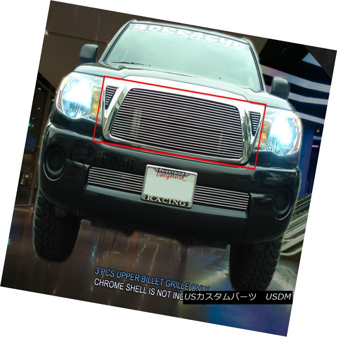 グリル Fedar Fits 2005-2010 Toyota Tacoma Polished Billet Grille Combo Insert Fedarは2005-2010年を適合させるトヨタタコマは磨かれたビレットグリルコンボインサート