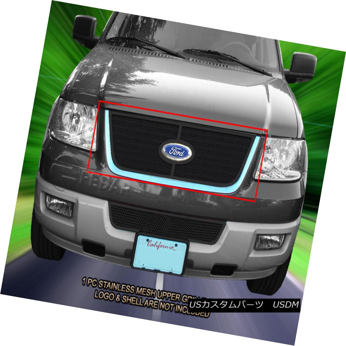 グリル Fedar Fits 03-06 Ford Expedition Black Stainless Steel Mesh Grille Upper Grill Fedar Fits 03-06 Ford Expeditionブラックステンレスメッシュグリルアッパーグリル