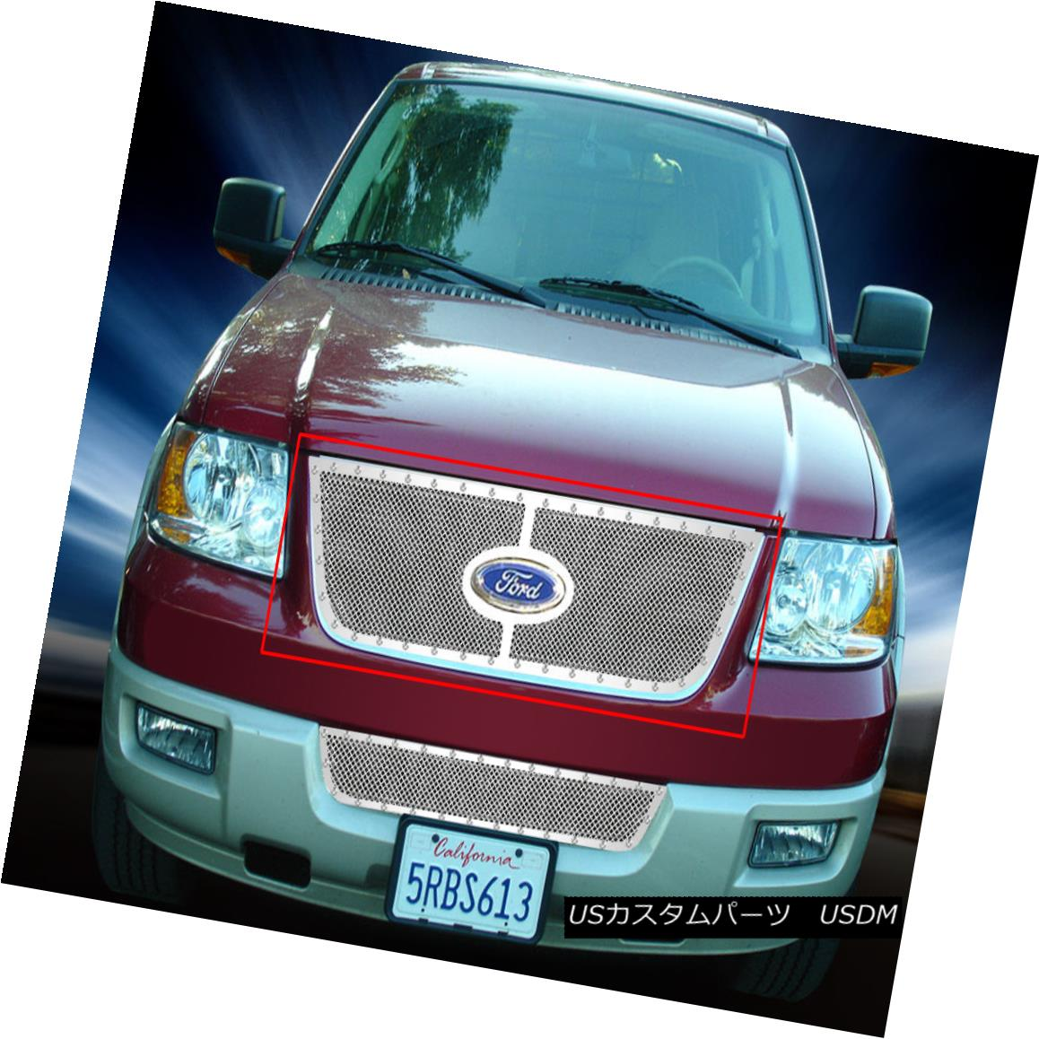グリル Fedar Fits 03-06 Ford Expedition Chrome Overlay Rivet Formed Mesh Grille Insert Fedar Fits 03-06 Ford Expeditionクロムオーバーレイリベット成形メッシュグリルインサート