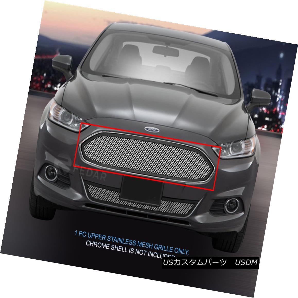グリル Fedar Fits 13-15 Ford Fusion Polished Mesh Grille Insert フェダーフュージョン13-15フォードフュージョンメッシュグリルインサート