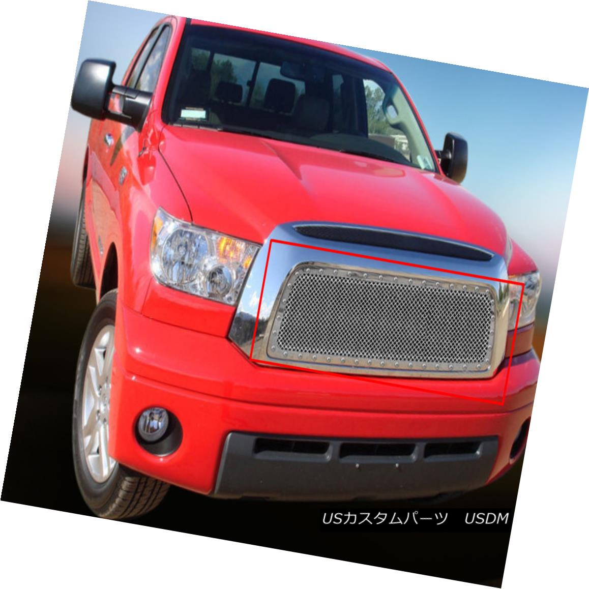 グリル Fedar Fits 2007-2009 Toyota Tundra Chrome BoltOn Rivet Formed Mesh Grille Insert ペダール2007-2009トヨタトンドラクロムBoltOnリベットフォーメッシュグリルインサート