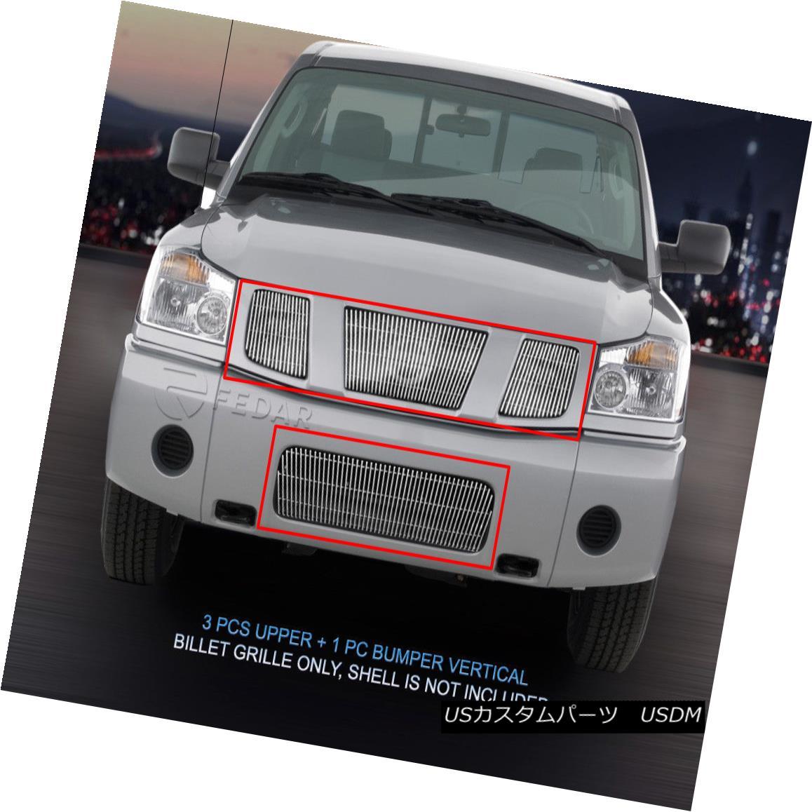 グリル Fits 04-07 Nissan Titan/Armada Vertical Billet Grille Combo 4 Pcs Fedar Fits 04-07 Nissan Titan / Armada縦型ビレットグリルコンボ4個入りFedar