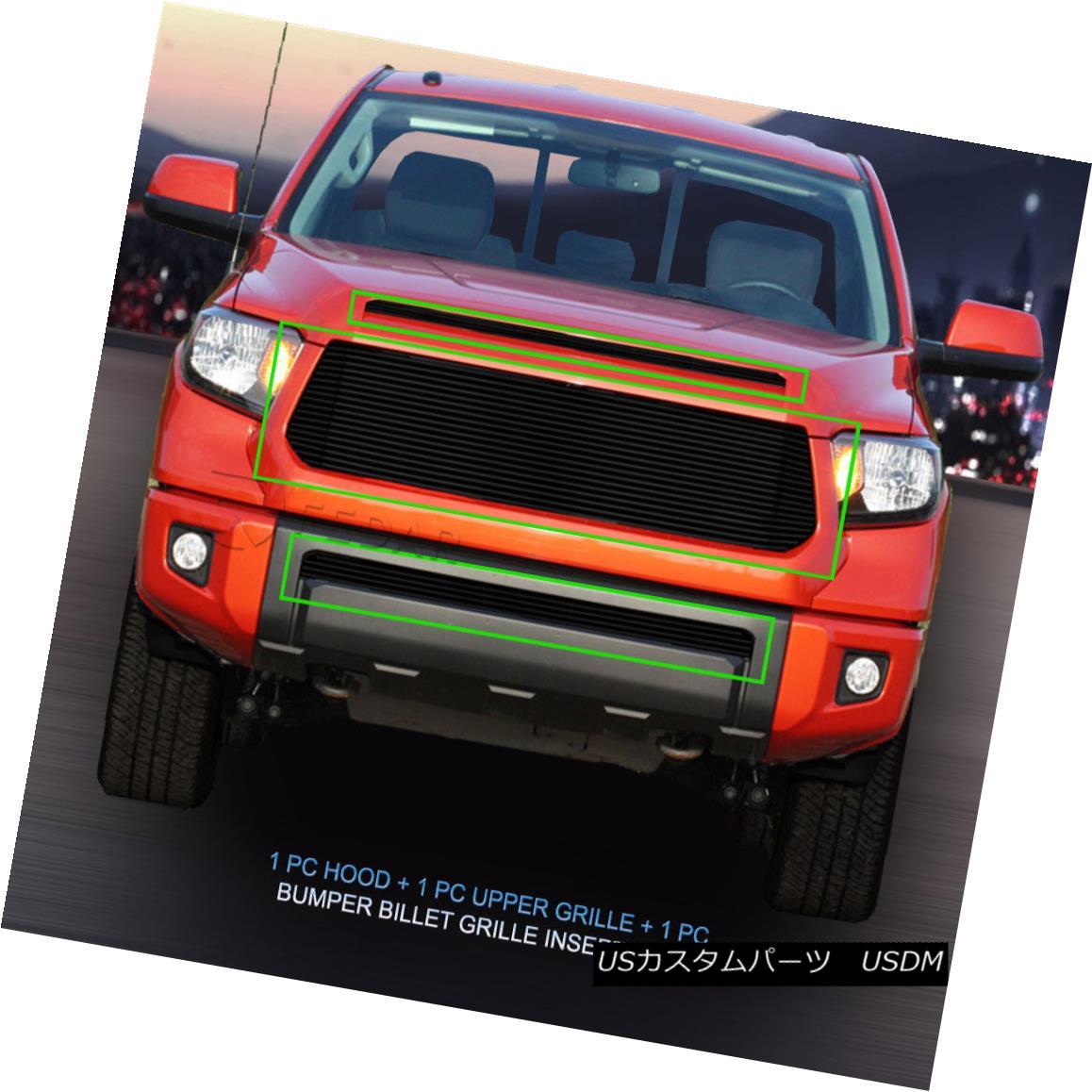 グリル 2014-2016 Toyota Tundra Black Billet Grille Grill Combo Insert 3 Pcs Fedar 2014-2016トヨタトンドラブラックビレットグリルグリルコンボインサート3個入りFedar