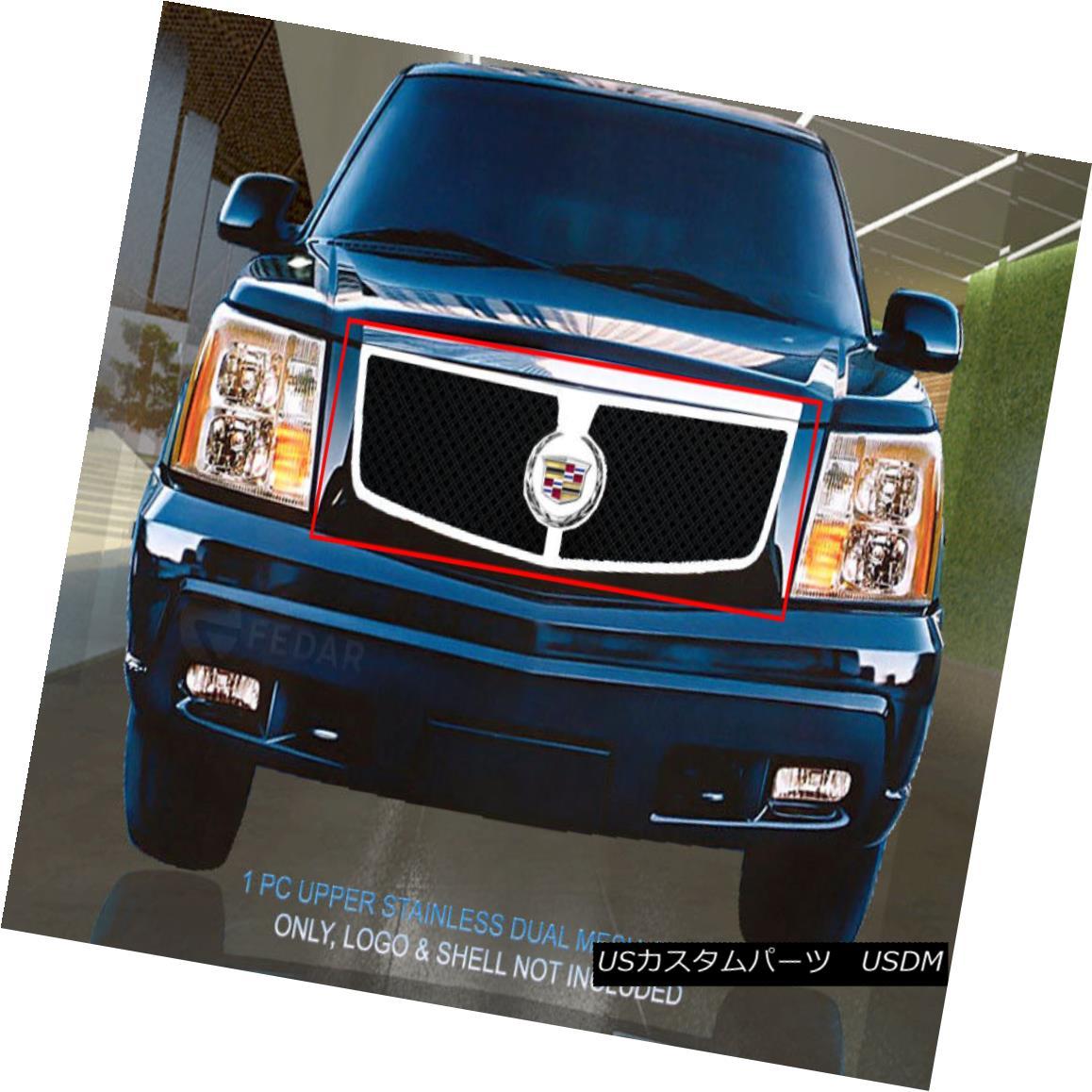 グリル 02-06 Cadillac Escalade Stainless Polished Frame Dual Black Mesh Grille Fedar 02-06キャデラック・エスカレードステンレス・ポリッシュ・フレームデュアル・ブラック・メッシュグリル・フェザー
