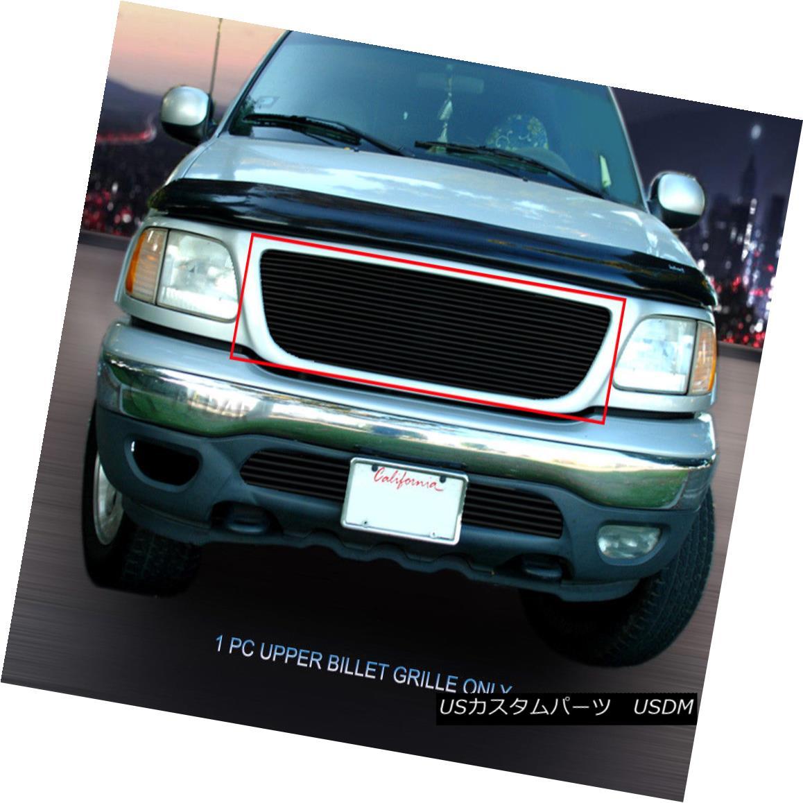 グリル Fits 99-03 Ford F-150/Harley Davidson/Lightning Black Billet Grille Insert フィット99-03 Ford F-150 /ハーレーダビッドソン/ライト ningブラックビレットグリルインサート