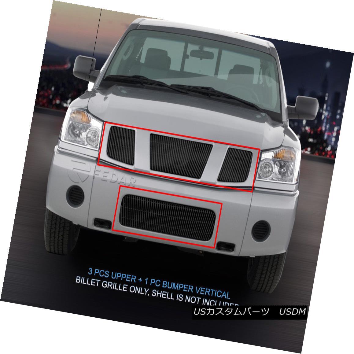 グリル Fits 04-07 Nissan Titan/Armada Vertical Black Billet Grille Combo Insert Fedar フィット04-07日産タイタン/陸軍垂直黒ビレットグリルコンボ挿入Fedar