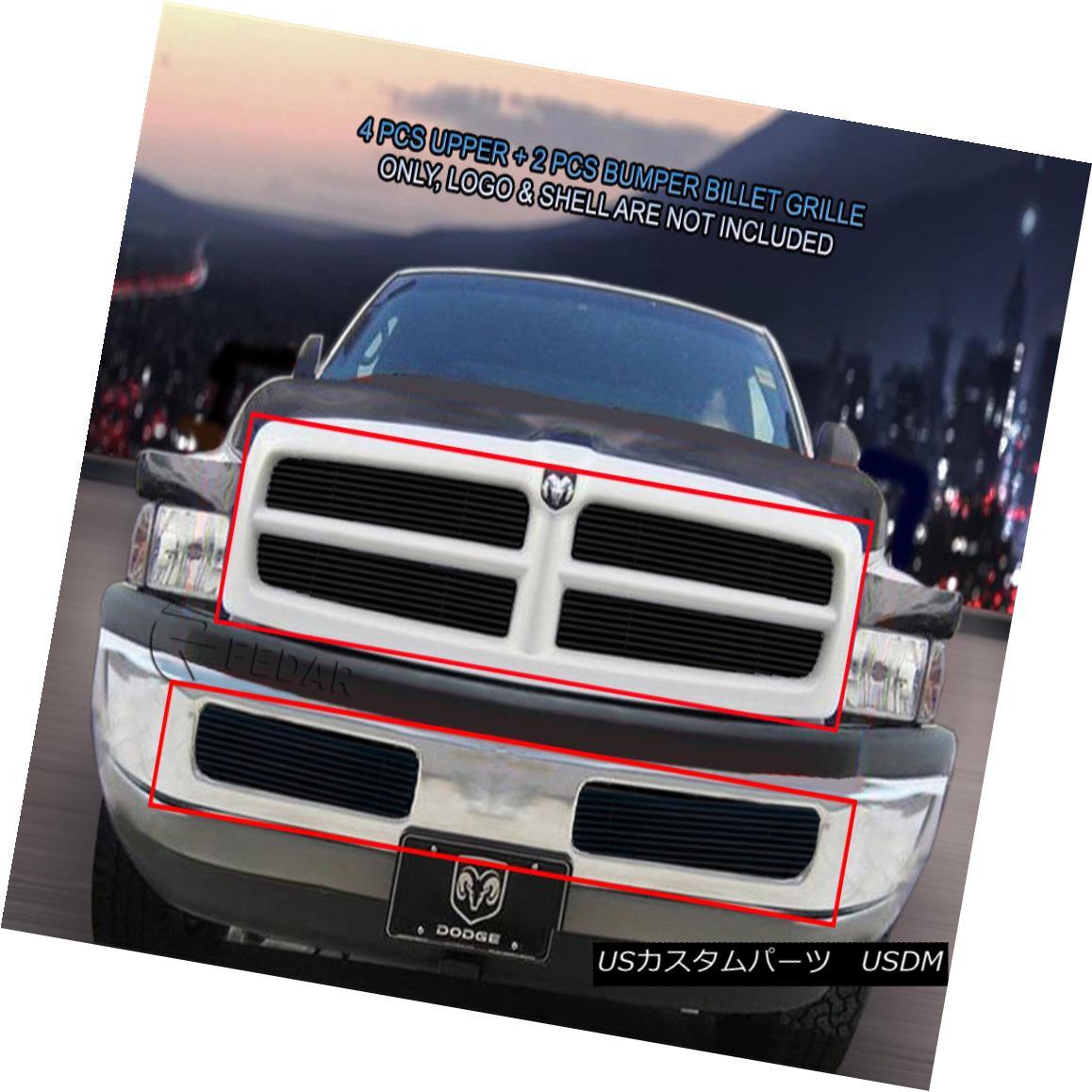 グリル 99-01 Dodge Ram Sport Billet Black Grille Grill Combo Insert 6 Pcs Fedar 99-01ダッジラムスポーツビレットブラックグリルグリルコンボインサート6個入りFedar