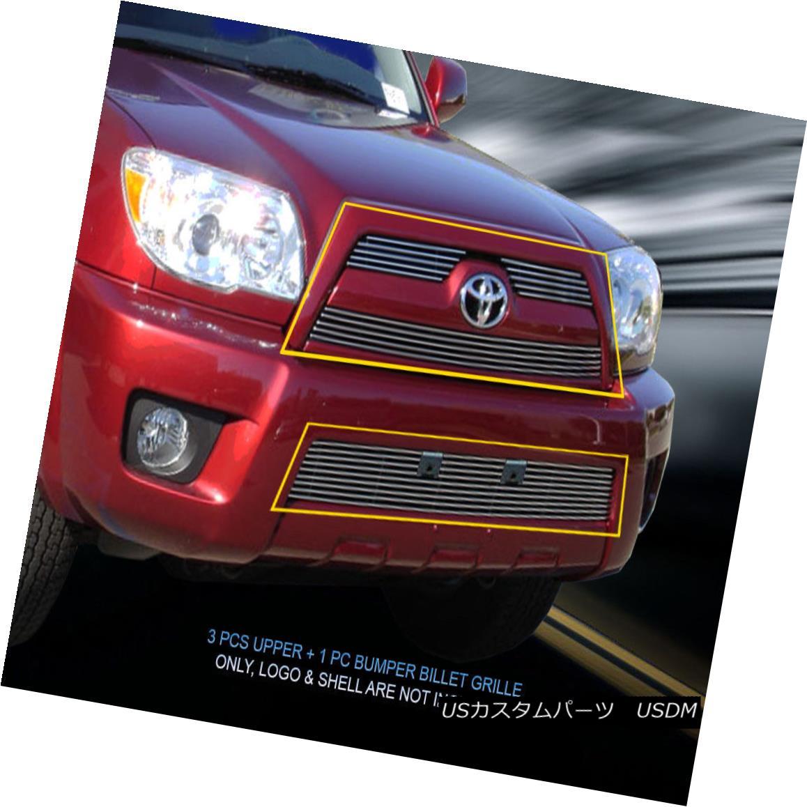 グリル Fedar Fits 2006-2009 Toyota 4Runner Polished Billet Grille Combo Fedarは2006-2009トヨタ4Runnerポリッシュビレットグリルコンボフィット