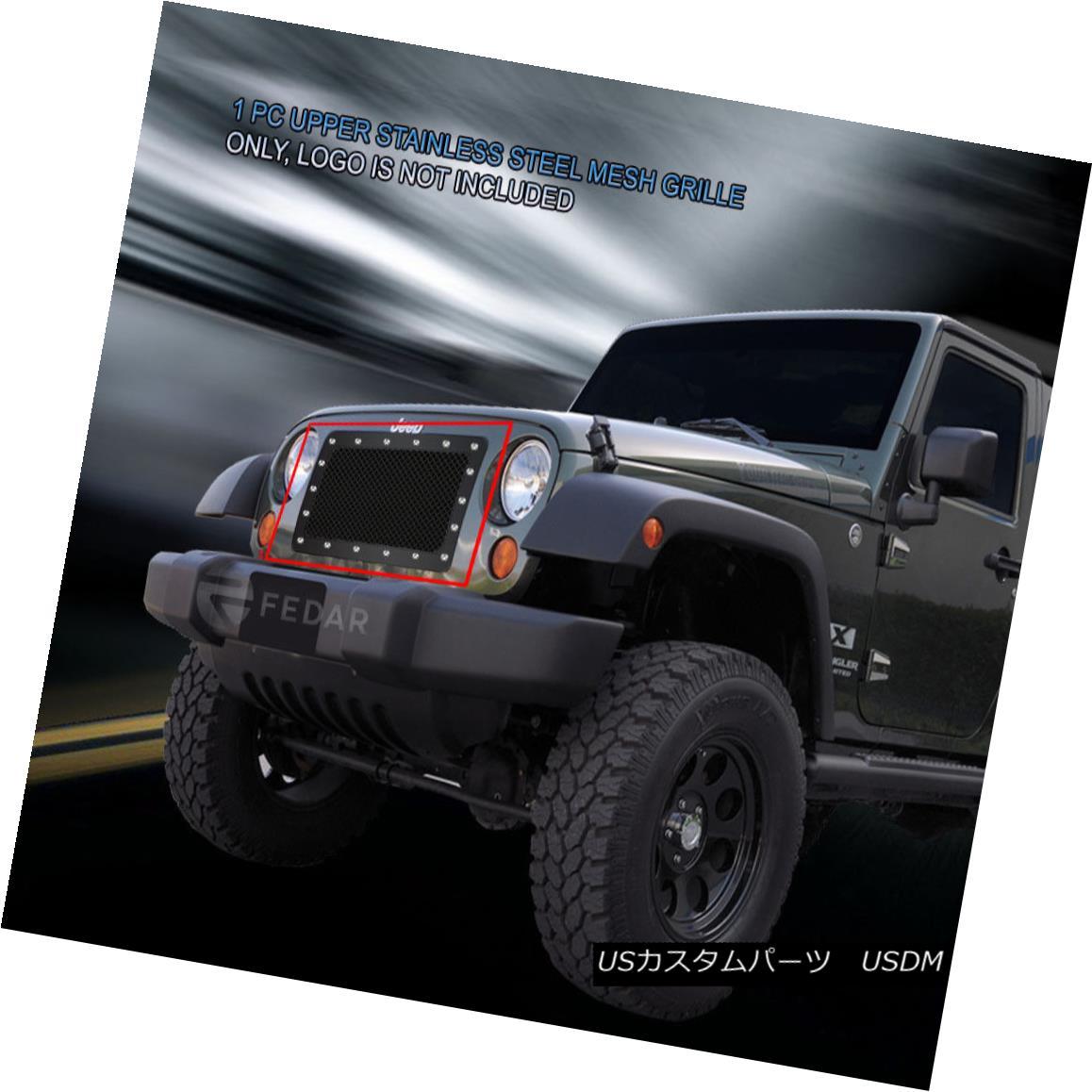 グリル Fedar Fits 07-14 Jeep Wrangler Mesh Grille Insert フェデラルフィット07-14ジープラングラーメッシュグリルインサート