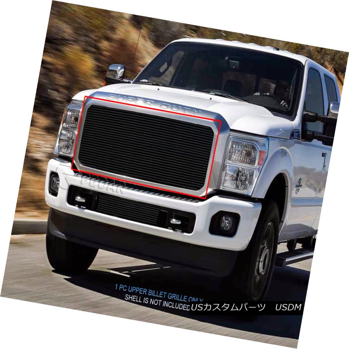 グリル Fits 2011-2016 Ford F250/F350/F450/F550 Super Duty Black Billet Grille Insert 2011-2016 Ford F250 / F350 / F450 / F550スーパーデューティブラックビレットグリルインサート