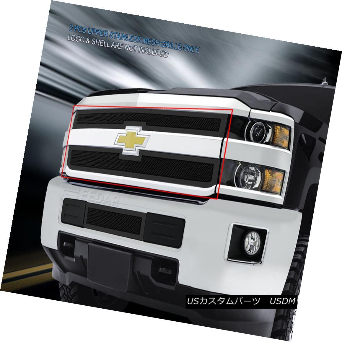 グリル Fedar Fits 2014-2015 Silverado 2500HD/3500HD Full Black Upper WIre Mesh Grille Fedarフィット2014-2015 Silverado 2500HD / 3500HDフルブラックアッパーワイヤーメッシュグリル