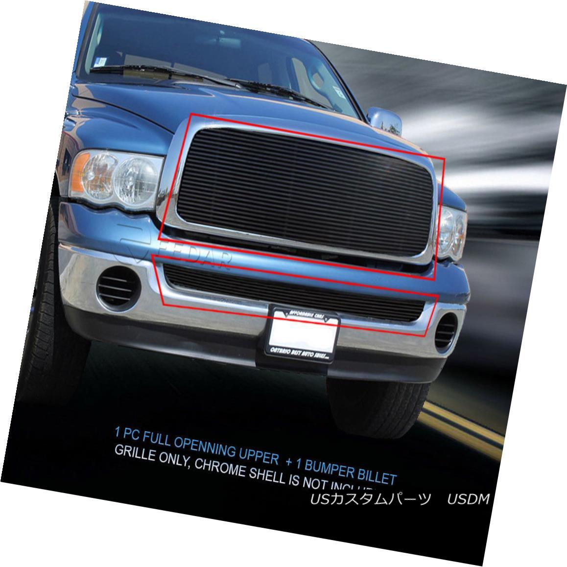 グリル Fedar Fits 2002-2005 Dodge RAM Cover All No Cut Black Billet Grille Combo Fedar Fitting 2002-2005 Dodge RAM CoverすべてのカットなしBlack Billet Grille Combo