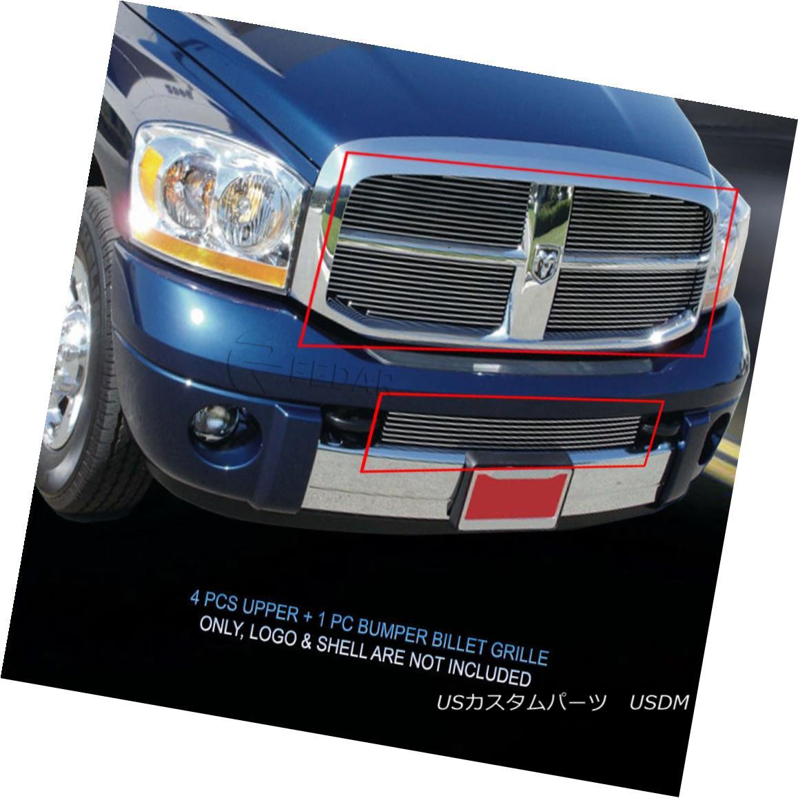 グリル Fedar Fits 2006-2008 Dodge Ram Polished Overlay Billet Grille Combo Insert Fedarは2006-2008 Dodge Ram研磨オーバーレイビレットグリルコンボインサート