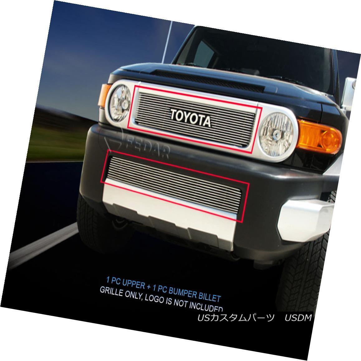 グリル Fedar Fits 07-14 Toyota FJ Cruiser Combo Polished Billet Grille Overlay Fedarフィット07-14トヨタFJクルーザーコンボポリッシュビレットグリルオーバーレイ