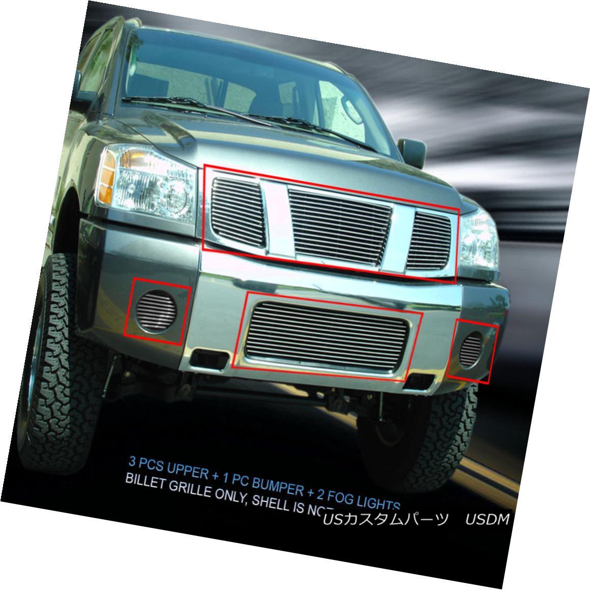 グリル Fedar Fits 2004-2007 Nissan Titan Armada Polished Billet Grille Combo Fedar Fits 2004-2007日産タイタンアルマダポリッシュビレットグリルコンボ