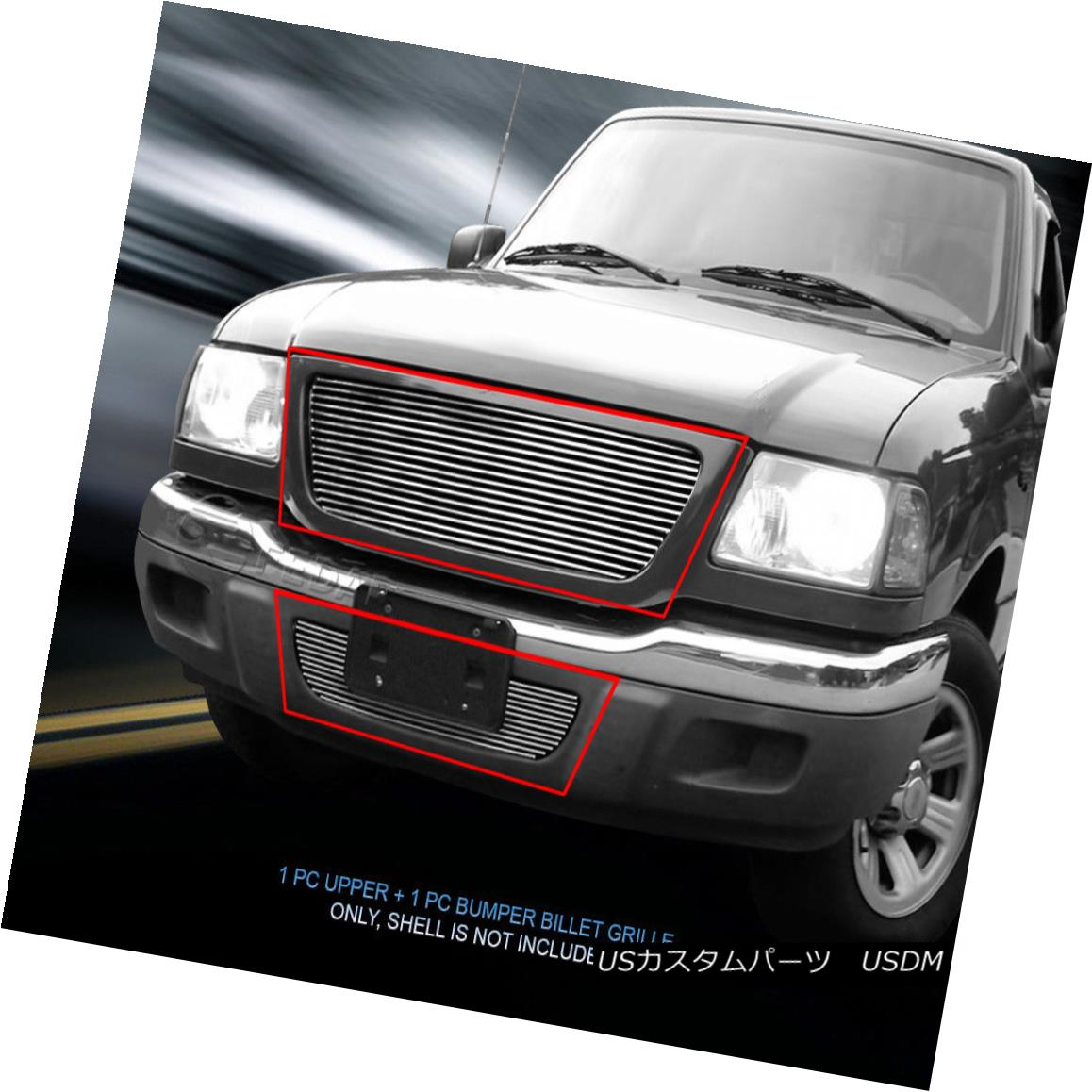 グリル Fedar Fits 01-03 Ford Ranger XL 2WD/XLT 2WD Combo Polished Billet Grille Ford Ranger XL 2WD / XLT 2WD Combo Polished Billet Grille