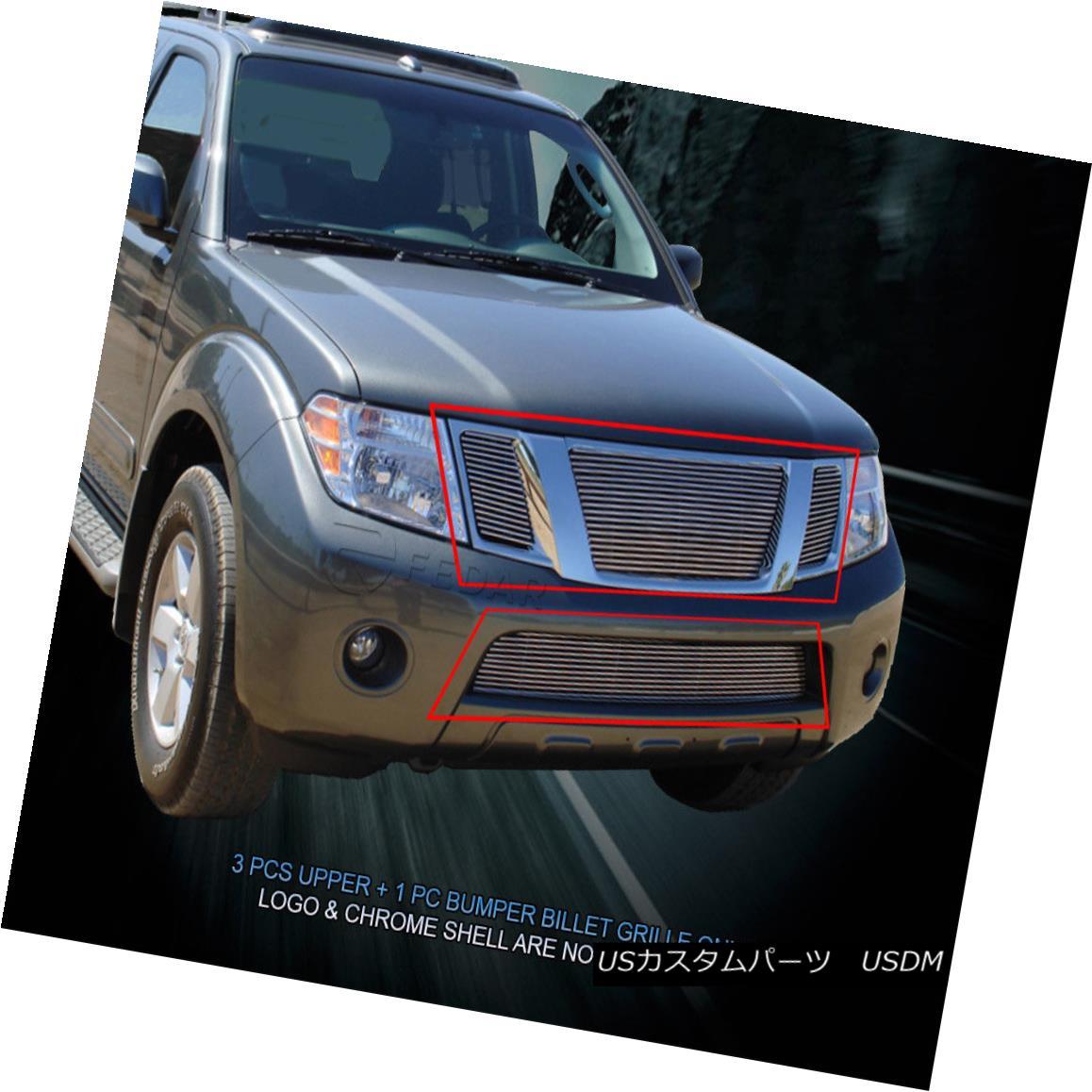グリル Fedar Fits 2008-2012 Nissan Pathfinder Polished Overlay Billet Grille Combo Fedar Fits 2008-2012 Nissan Pathfinder Polished Overlayビレットグリルコンボ