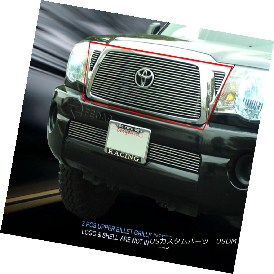 グリル Fedar Fits 2005-2010 Toyota Tacoma Polished Overlay Billet Grille Combo Insert Fedarは2005年から2010年にかけてToyota Tacoma研磨オーバーレイビレットグリルコンボインサート