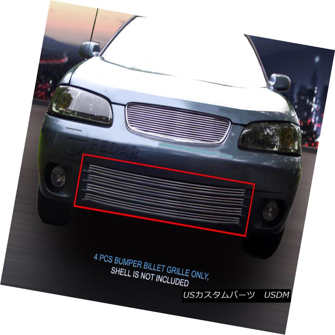 グリル Fedar Fits 2000-2003 Nissan Sentra Polished Insert Lower Bumper Billet Grille Federは2000-2003年を適合させます日産Sentraは磨かれた挿入のより低いバンパーのビレットの格子