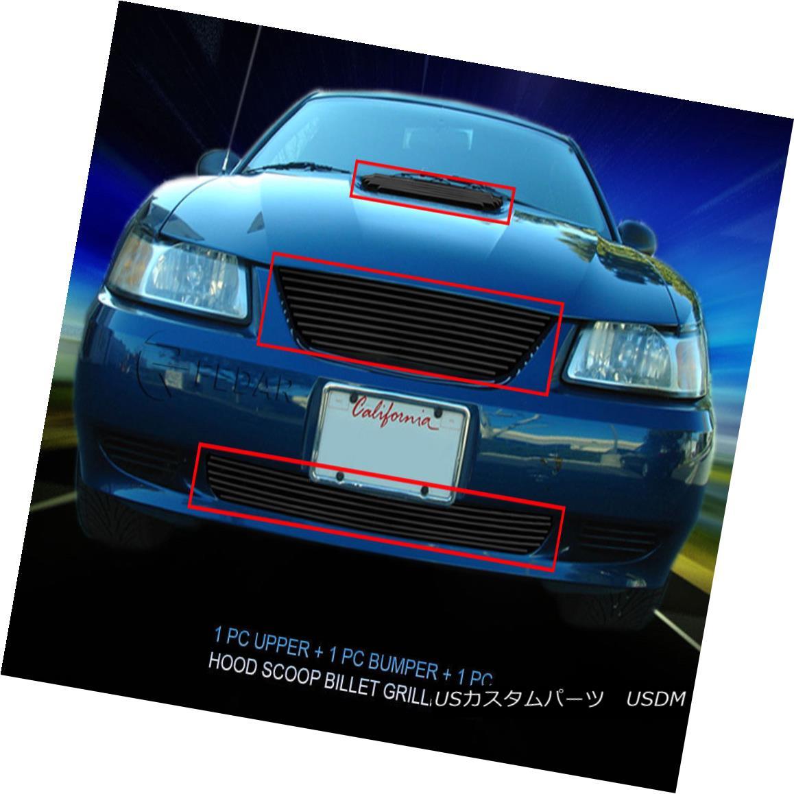 グリル 99-04 Ford Mustang V6 Black Billet Grille Grill Combo 3 Pcs Fedar 99-04フォードマスタングV6ブラックビレットグリルグリルコンボ3個入りFedar