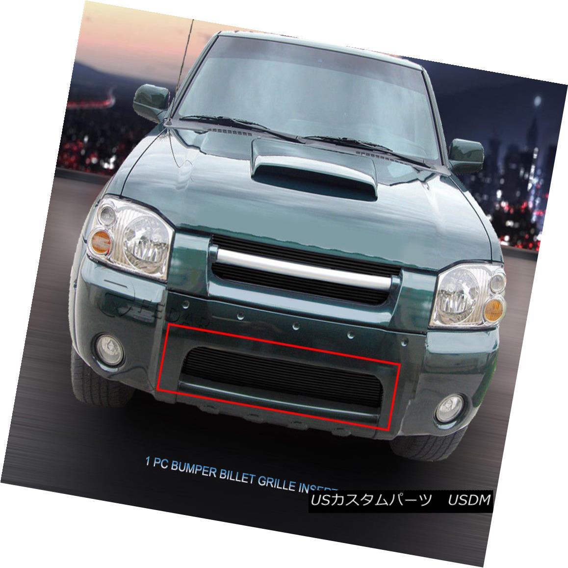 グリル Fits 01-04 Nissan Frontier Black Billet Grille Bumper Grill Insert フィット01-04日産フロンティアブラックビレットグリルバンパーグリルインサート