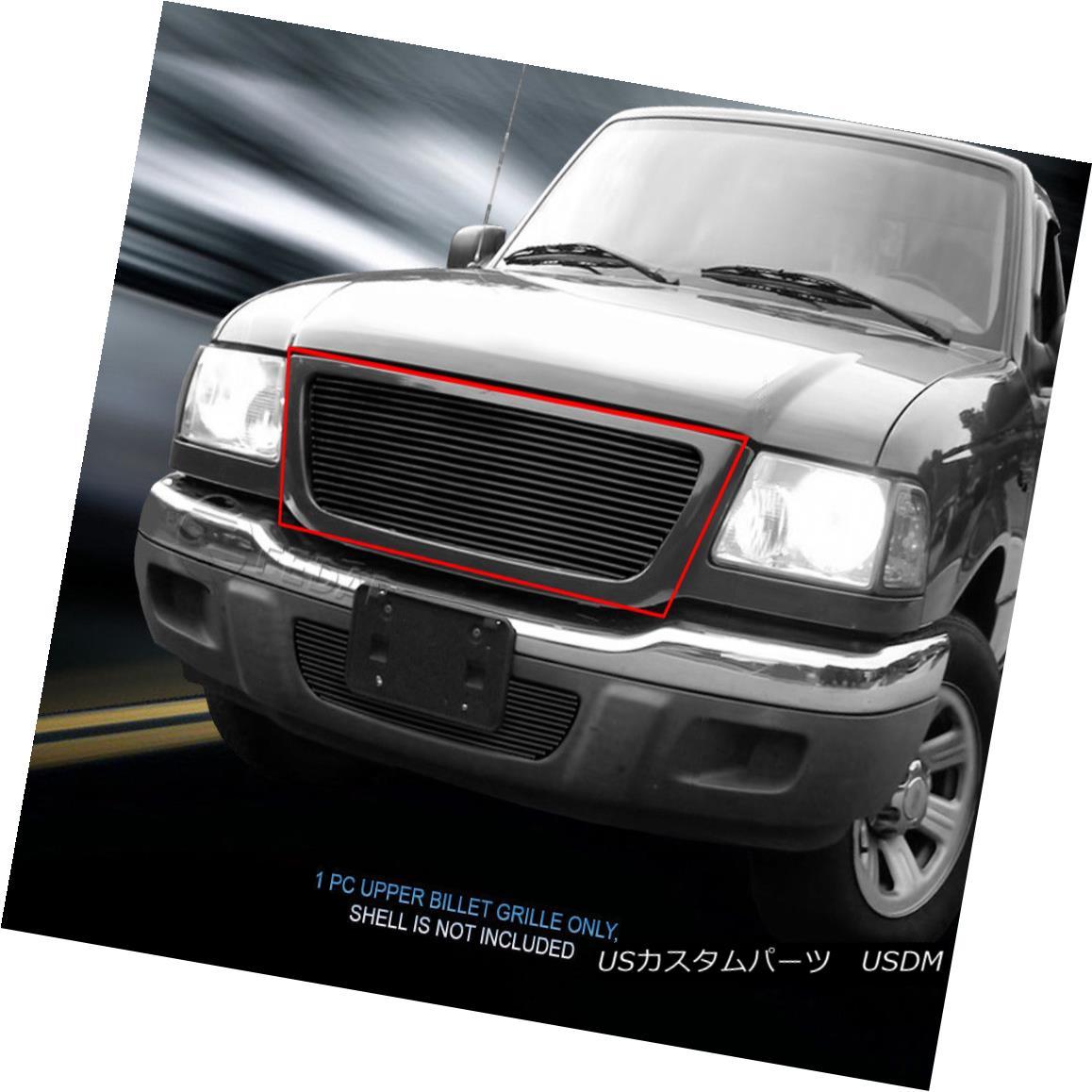 グリル Fits 2001-2003 Ford Ranger 2WD Black Billet Grille Main Upper Grill Insert Fedar フィット2001-2003フォードレンジャー2WDブラックビレットグリルメインアッパーグリルインサートFedar