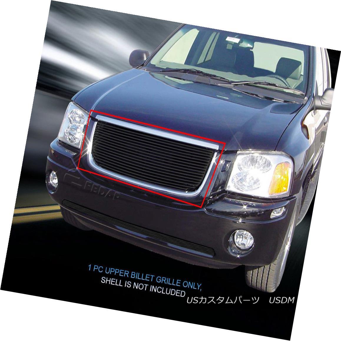 グリル Fits 2001-2009 GMC Envoy Billet Black Grille Grill Insert 2001?2009年GMCエンボイビレットブラックグリルグリルインサートに適合