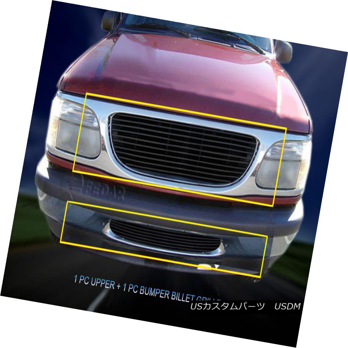 グリル For 95-98 Ford Explorer Aluminum Black Billet Grille Grill Combo Insert Fedar 95-98フォードエクスプローラーアルミブラックビレットグリルグリルコンボインサートFedar