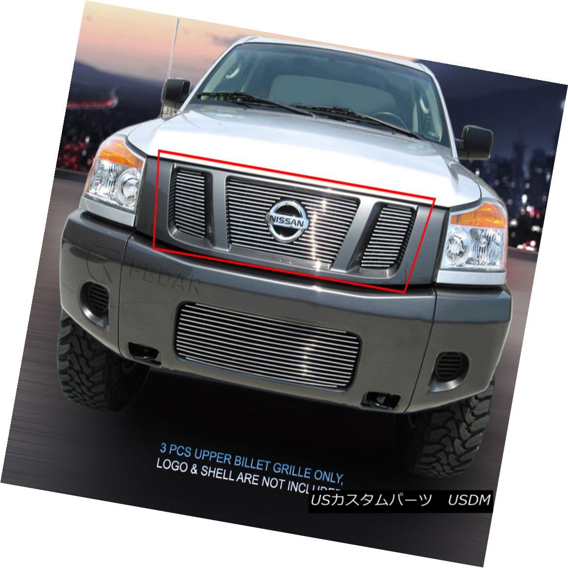 グリル Fits 2008 - 2015 Nissan Titan Billet Grille Grill Upper Insert 3 Pcs Fedar フィット2008年 - 2015日産タイタンビレットグリルグリルアッパーインサート3台のFedar