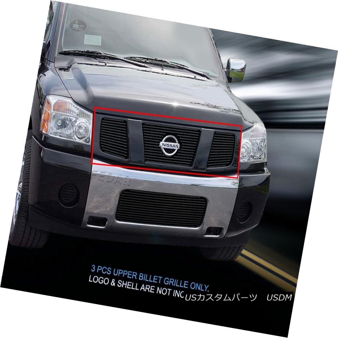 グリル Fits 04-07 Nissan Titan Armada Black Billet Grille Grill Upper Insert Fedar フィット04-07日産タイタンアルマダブラックビレットグリルグリルアッパーインサートフェルダー