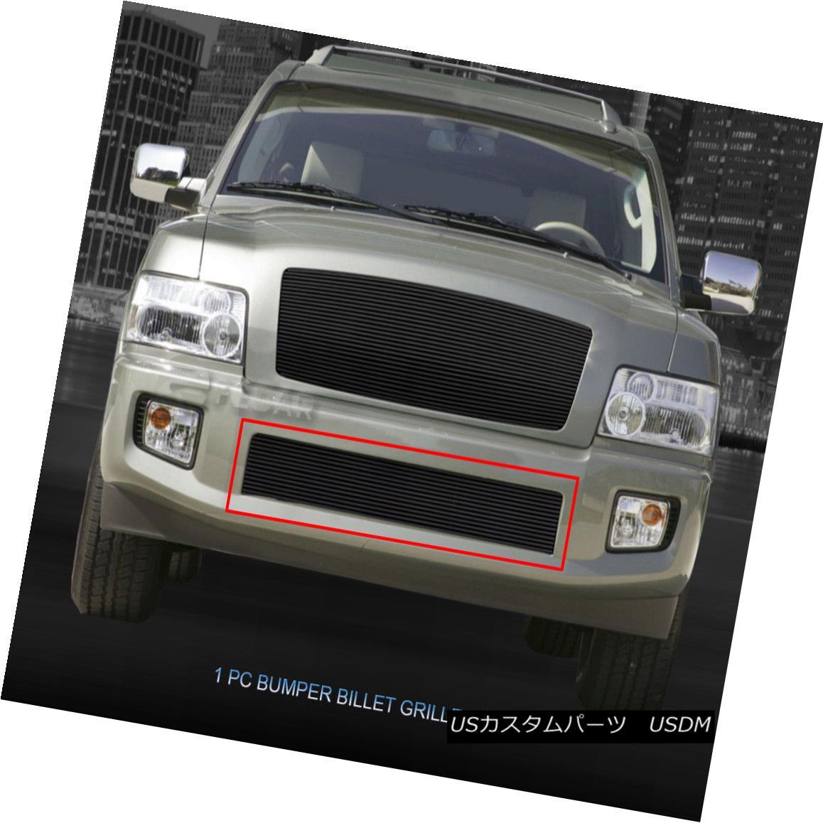 グリル Fits 04-10 Infiniti QX56 Black Billet Grille Grill Bumper Insert Fedar フィット04-10インフィニティQX56ブラックビレットグリルグリルバンパーインサートFedar