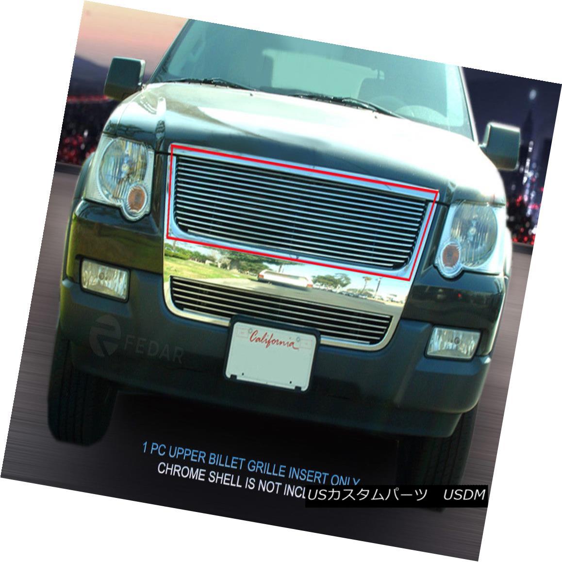 グリル For 2006-2007 Ford Explorer Black Billet Grille Grill Upper Insert Fedar 2006?2007年フォードエクスプローラーブラックビレットグリルグリルアッパーインサートフェルダー