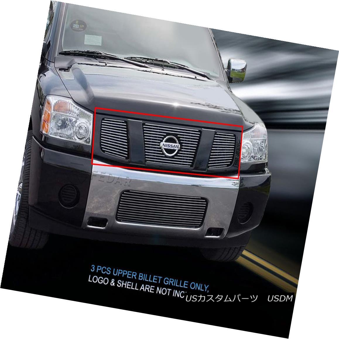 グリル Fits 2004 - 2007 Nissan Titan Armada Billet Grille Upper Grill Insert Fedar フィット2004年-2007日産タイタンアルマダビレットグリルアッパーグリルインサートFedar