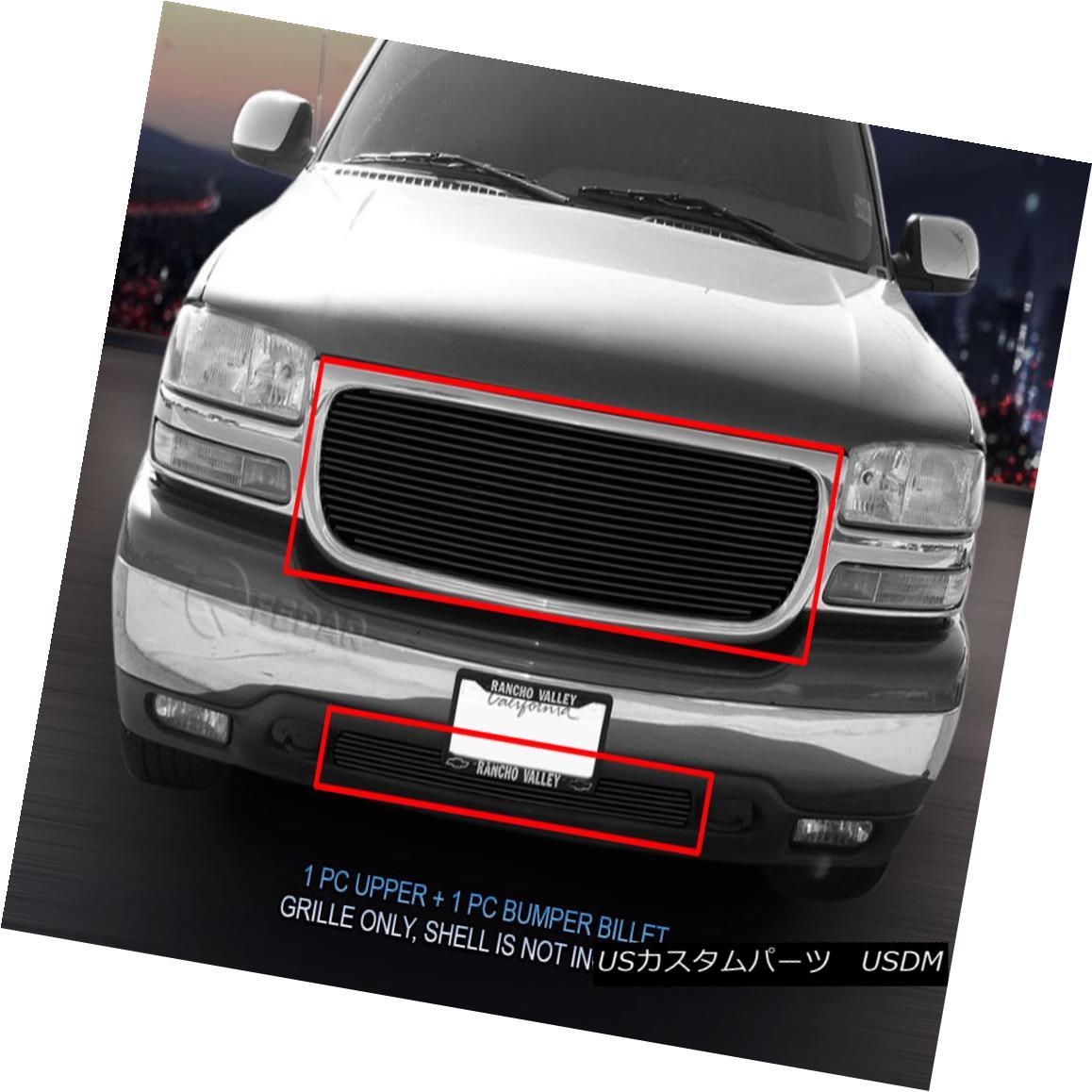 グリル Fits 00-06 GMC Yukon XL 1500/2500 99-02 Sierra 1500 Black Billet Grille Insert フィット00-06 GMCユーコンXL 1500/2500 99-02シエラ1500ブラックビレットグリルインサート
