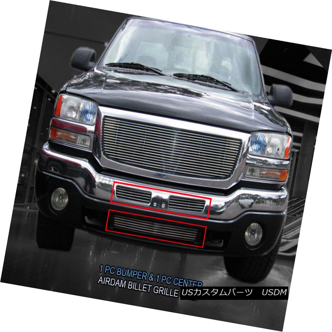 グリル Fits 2003-2007 GMC Sierra EZ Black Billet Grille Grill Bumper 2 Pcs Fedar 2003-2007 GMC Sierra EZ Black Billetグリルグリルバンパー2個入りFedar