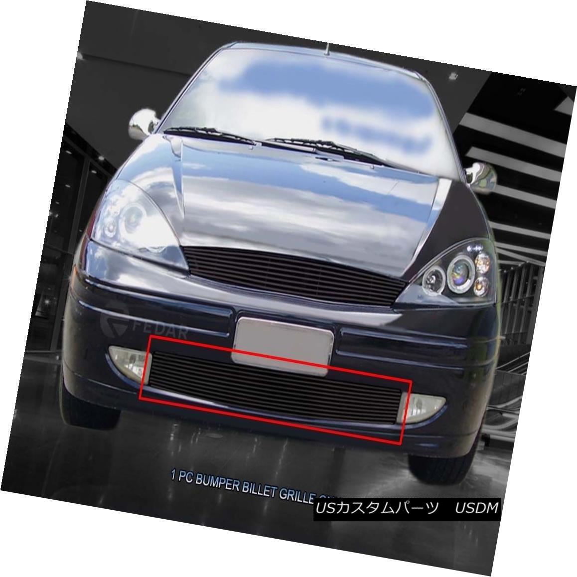 グリル For 00-04 Ford Focus Black Replacement Billet Grille Bumper Grill Insert Fedar 00-04フォードフォーカスブラック交換用ビレットグリルバンパーグリルインサートフェルダー