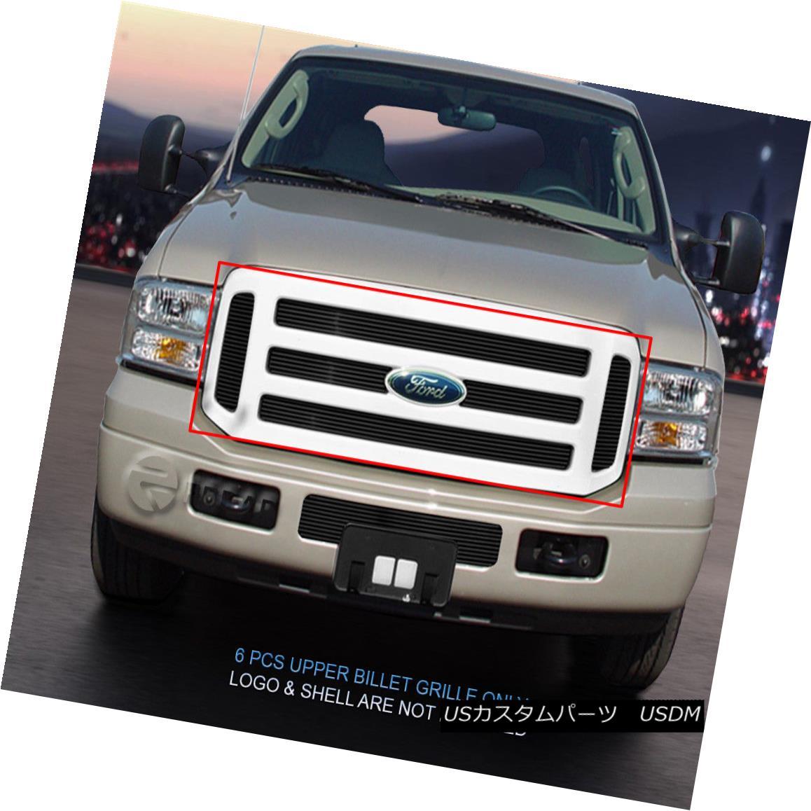 グリル For 05-07 Ford F-250 F350 F450 F550 Black Billet Grille Grill Upper Insert Fedar 05-07フォードF-250 F350 F450 F550ブラックビレットグリルグリルアッパーインサートフェルダー