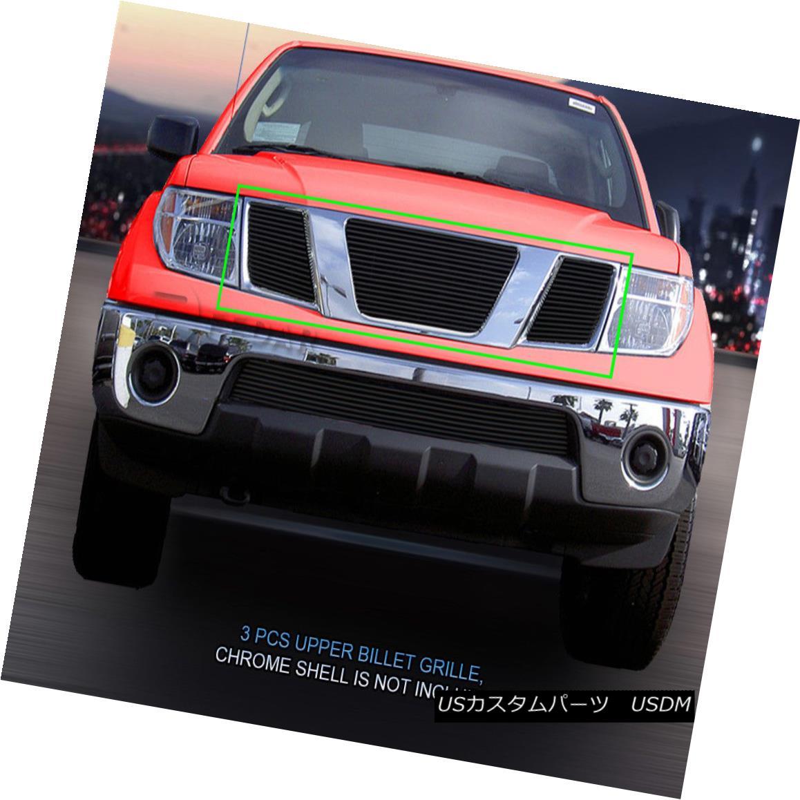 グリル Fedar Fits 2005-2008 Nissan Pathfinder Frontier Black BoltOn Upper Billet Grille Fedarは2005-2008年を適合させる日産パスファインダーのフロンティア黒BoltOnアッパービレットグリル