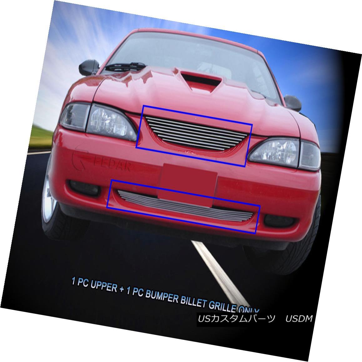グリル Fits 1994-1998 Ford Mustang Billet Grille Grill Combo Insert Fedar フィット1994-1998フォードマスタングビレットグリルグリルコンボインサートFedar