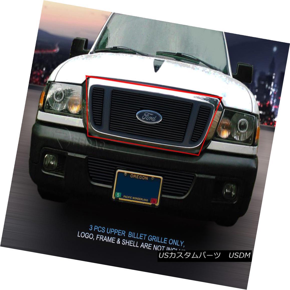 グリル 04-05 Ford Ranger Black Billet Grille Grill Upper Insert 3 Pcs Fedar 04-05フォードレンジャーブラックビレットグリルグリルアッパーインサート3個入りFedar